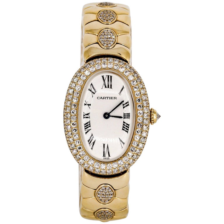 Cartier Ladies Yellow Gold Diamond Baignoire Quartz Wristwatch For Sale