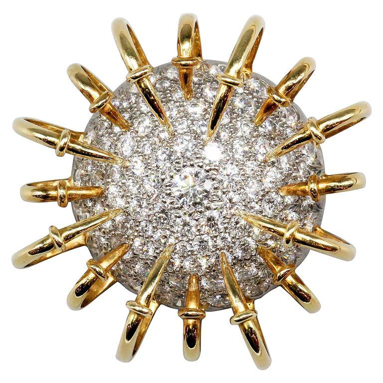 TIFFANY & CO. SCHLUMBERGER Apollo Diamond Platinum Gold Brooch
