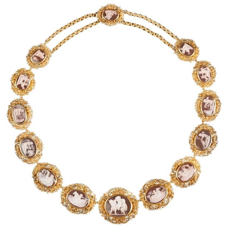Antique English Georgian Regency Sardonyx Cameo Gold Necklace For Sale