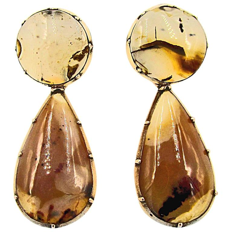 Antique Gold and Moss Agate Drop Earrings