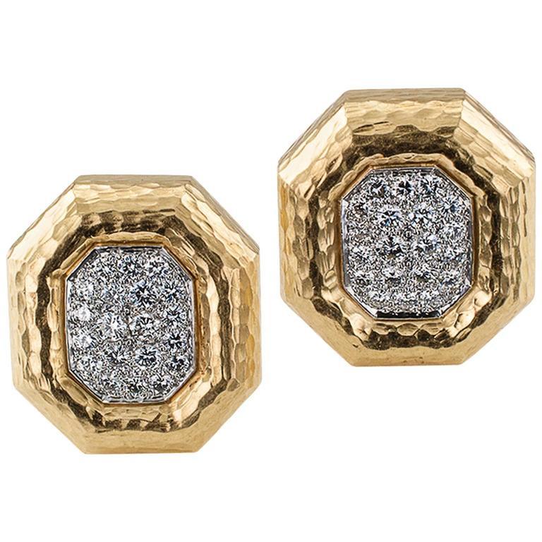 Andrew Clunn Octagonal Diamond Earrings
