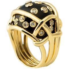 Verdura Black Jade Diamond Gold Polka Dot Ring