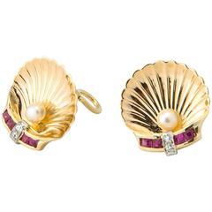 Retro Ruby Pearl Diamond Gold Shell Earrings