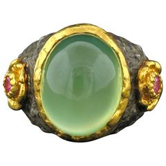 Victor Velyan Prehnite and Pink Sapphire Ring