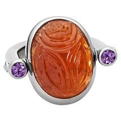 Colleen B. Rosenblat Mandarin Granet Amethysts Scarab Ring