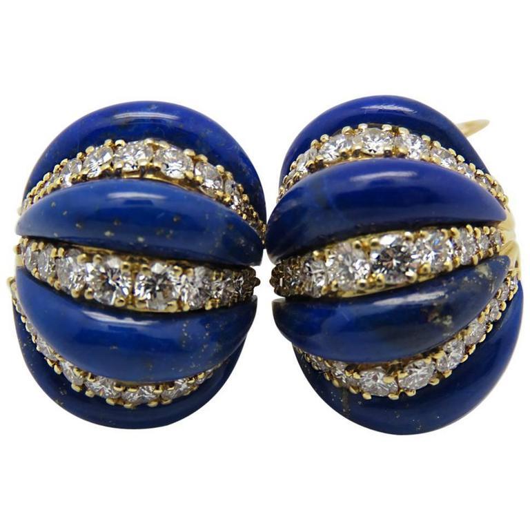 1970s Boucheron Paris Lapis Lazuli Diamond Yellow Gold Ear Clips.