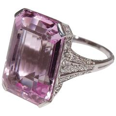 Art Deco French Morganite  Diamond Platinum Ring.