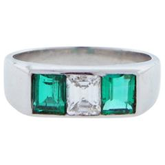 Gem Emerald and Diamond Ring