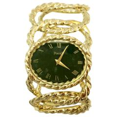 Piaget  Yellow gold nephrite dial 1970's wristwatch