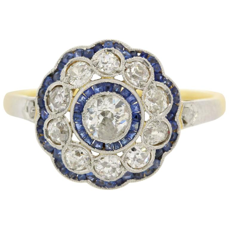 antique sapphire platinum and gold cluster ring