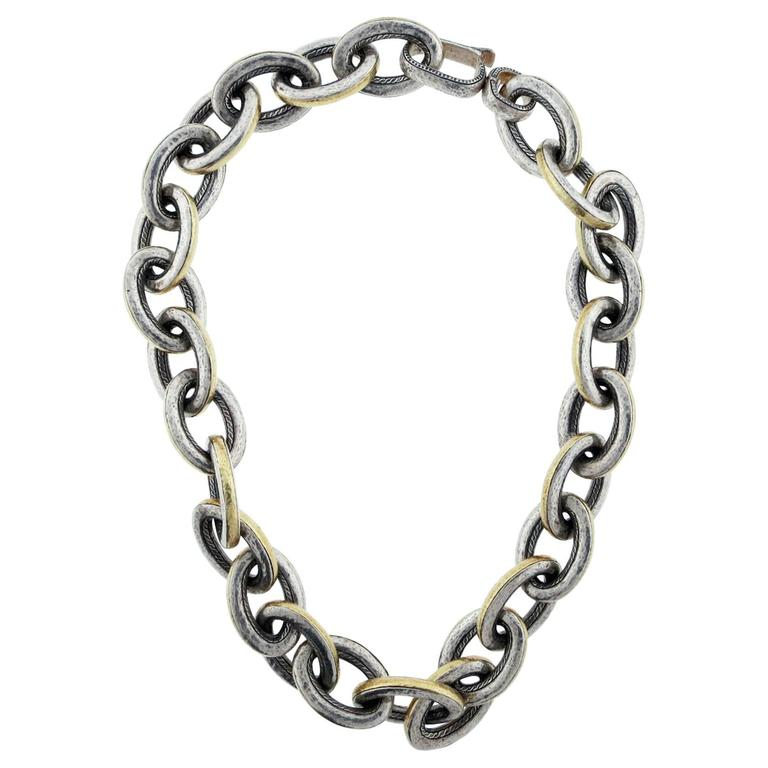 Powerful GURHAN Sterling and Gold Link Necklace