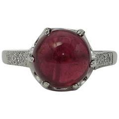 Art Deco 2.66 carat Rubellite Tourmaline  Diamond Shoulders Ring