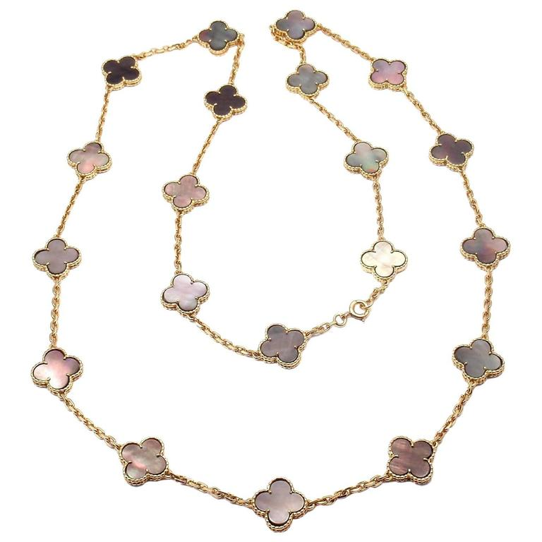 Van Cleef & Arpels Grey Mother-of-Pearl Vintage Alhambra Yellow Gold Necklace