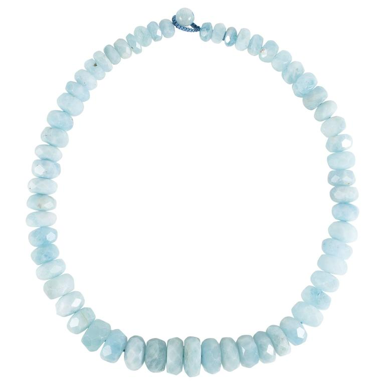 Frosty Aquamarine Graduated Rondel Choker Necklace