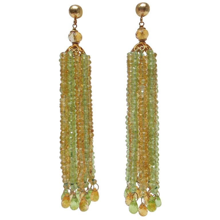 Faceted Citrine Peridot Bead Tassel Earrings For Sale
