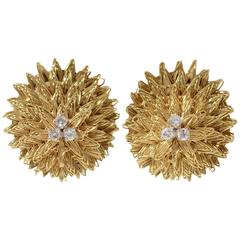 Hammerman Brothers Oval Diamond Gold Earclips