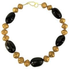 Gemjunky Distinctive Smoky Quartz and Golden Czech Bead Necklace