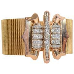 Retro Diamond Gold Wide Mesh Bracelet