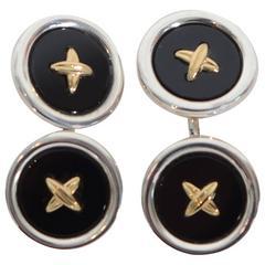 Tiffany Silver, Gold and Onyx Button Cufflinks