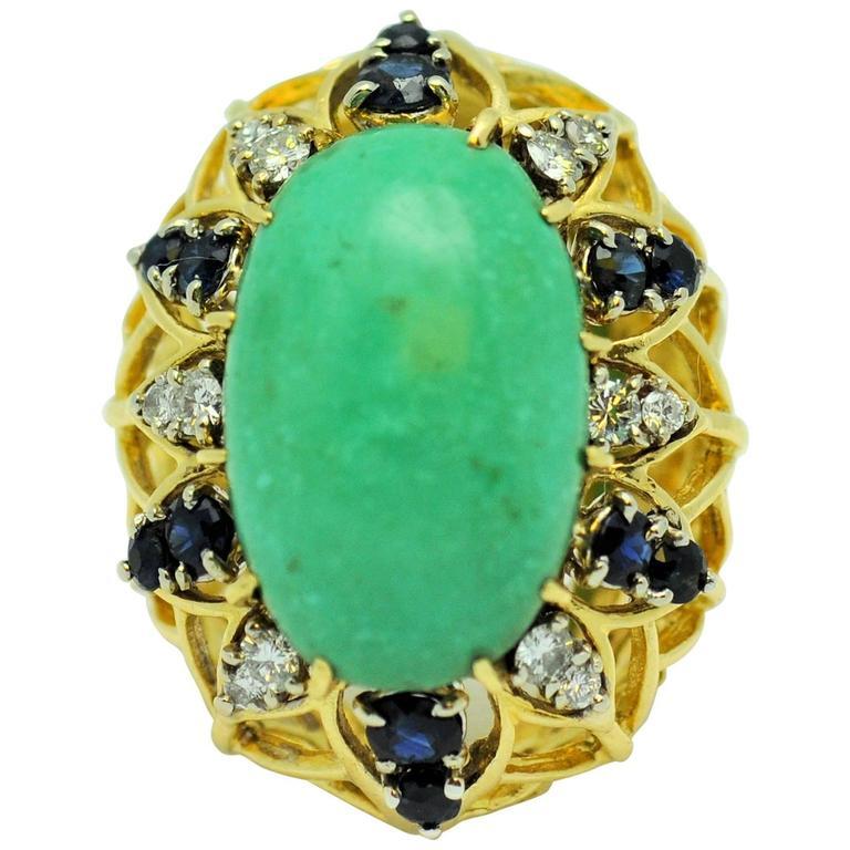 Turquoise  Sapphire Diamond Gold ring.
