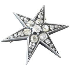 Antique French Old-Cut Diamond Silver on Gold Star Brooch