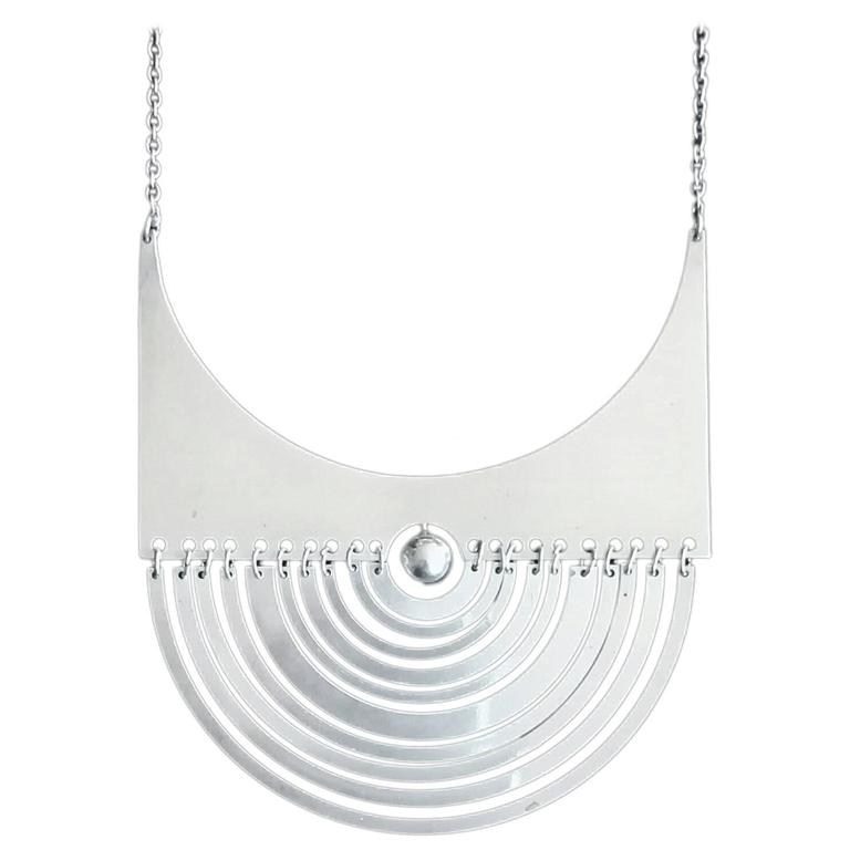 "Early Tapio Wirkkala ""Puillikuu"" Sterling Silver Necklace, 1972 For Sale"