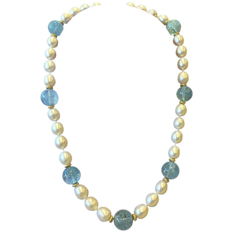Freshwater Pearl Aquamarine Bead Necklace