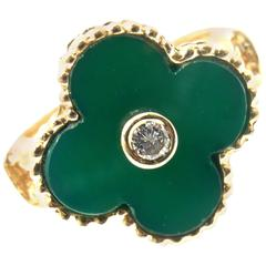 Van Cleef & Arpels Vintage Alhambra Green Chalcedony Yellow Gold Diamond Ring
