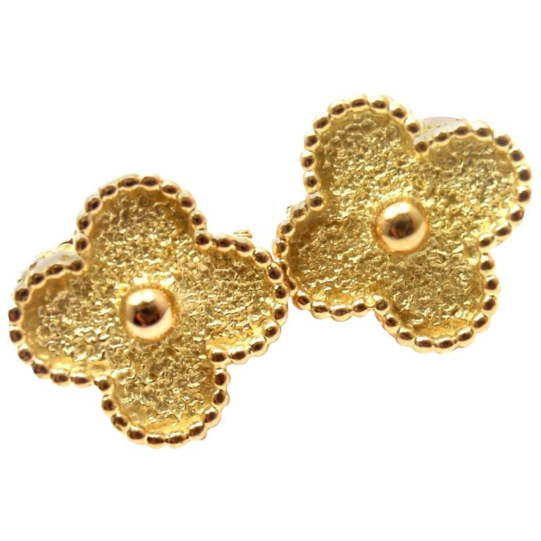 VAN CLEEF & ARPELS Vintage Alhambra Yellow Gold Earrings