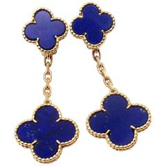 Van Cleef & Arpels Lapis Lazuli Long Magic Alhambra Gold Earrings
