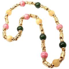 Bulgaria Green Jade White Jade Rhodochrosite Bead Link Yellow Gold Necklace