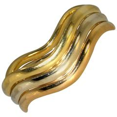 Tricolor gold bangle bracelet
