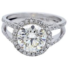 Certified 2.56 Carat Diamond and Gold Engagement Ring