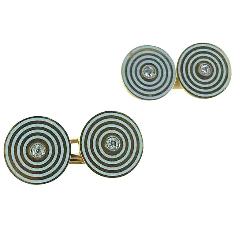 1920s Art Deco Enamel Diamond Gold Cufflinks