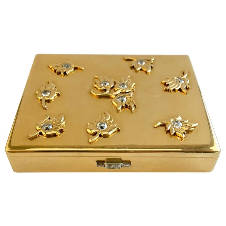 Cartier Paris 1940s Gold Diamond Compact Cigarette Case
