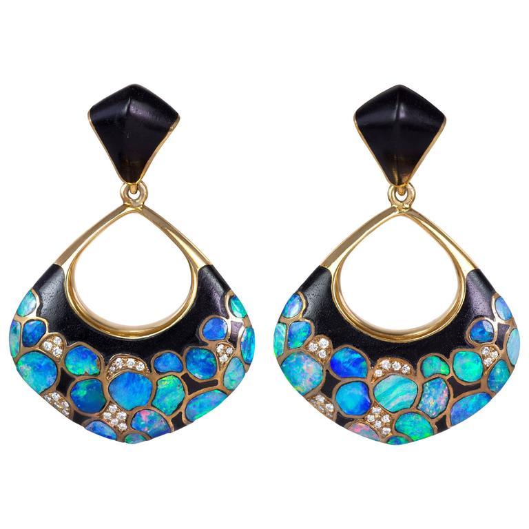 1980s Paul Binder Swiss Wood Opal Diamond Gold Clip-On Pendant Earrings