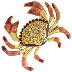 Enameled Yellow Gold Crab Brooch
