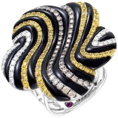 Roberto Coin Enameled White Gold Diamond and Sapphire Ring