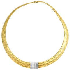 Roberto Coin Primavera Multi-Tone Gold and Diamond Choker Necklace