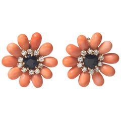 Precious Coral, Sapphire & Diamond Flower Earrings