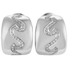 Van Cleef & Arpels White Gold Diamond Wave Huggie Earrings