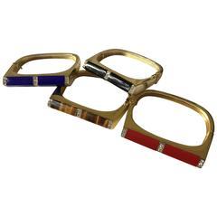 1970s set of coral onyx tigers eye  lapis lazuli diamond gold  bangles