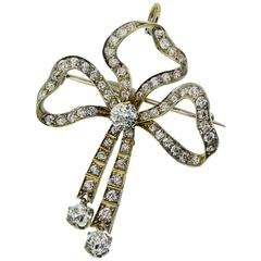 Edwardian Belle Epoch  Diamond Bow Motif Pendant Brooch