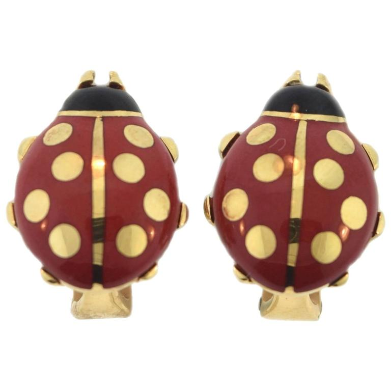 cartier enamel and yellow gold ladybug earrings for sale