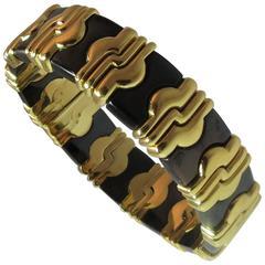 Stunning 18K Yellow Gold Anodized Steel Bangle Bracelet