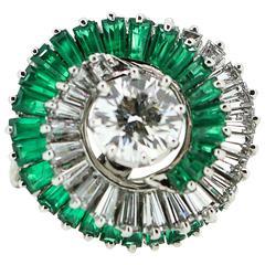1950s  Emerald  Diamond Spiral Motif Ring