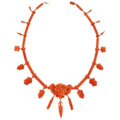 Sublime Archaeological Revival Coral and Gold Necklace