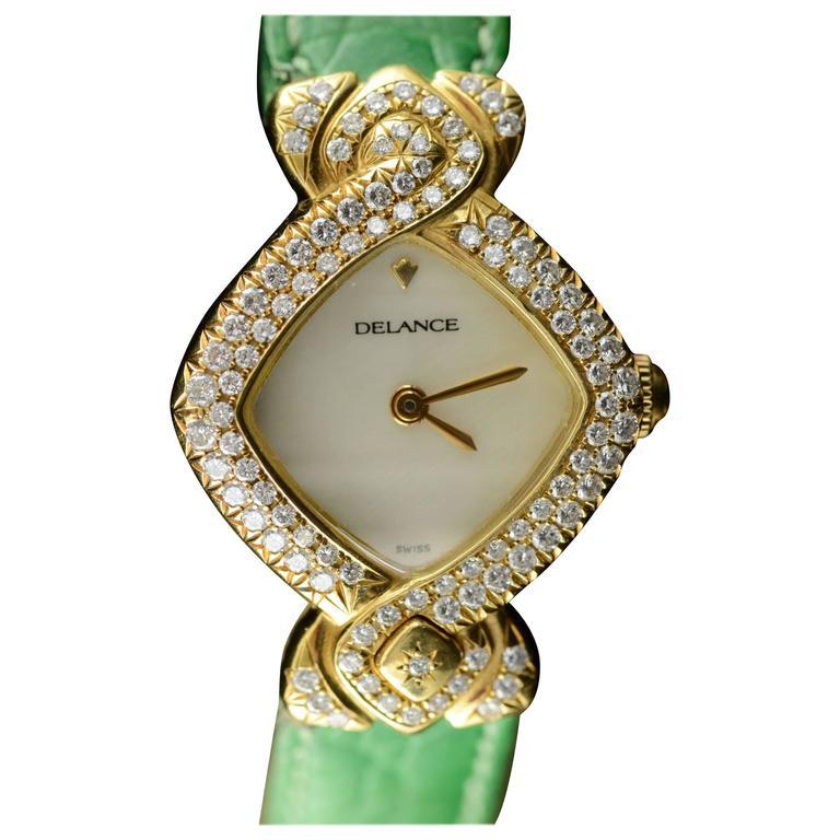Delance Swiss Diamond & Gold Watch
