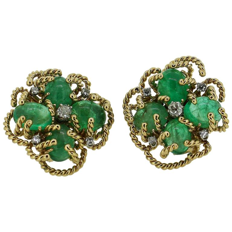 1970s Modernist Cabochon Emerald and Old Cut Diamond Clover-Motif Earrings For Sale