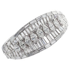 Wide Fancy Cut Diamond Bracelet 40 Carat